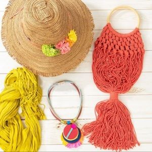 Cotton Coral Braided Fringe Bag